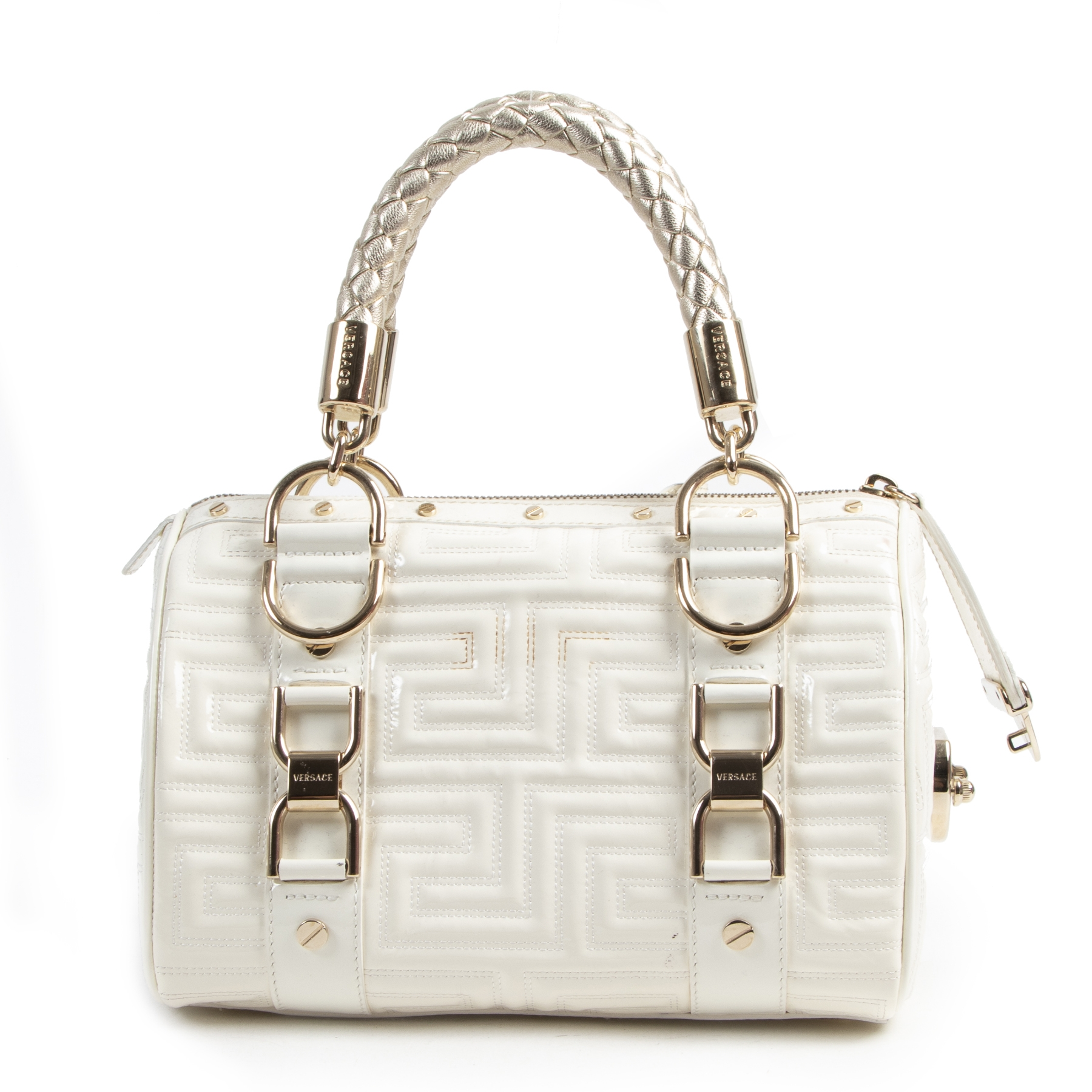 Authentieke Tweedehands Gianni Versace Couture White Patent Leather Top Handle Bag juiste prijs veilig online shoppen luxe merken webshop winkelen Antwerpen België mode fashion