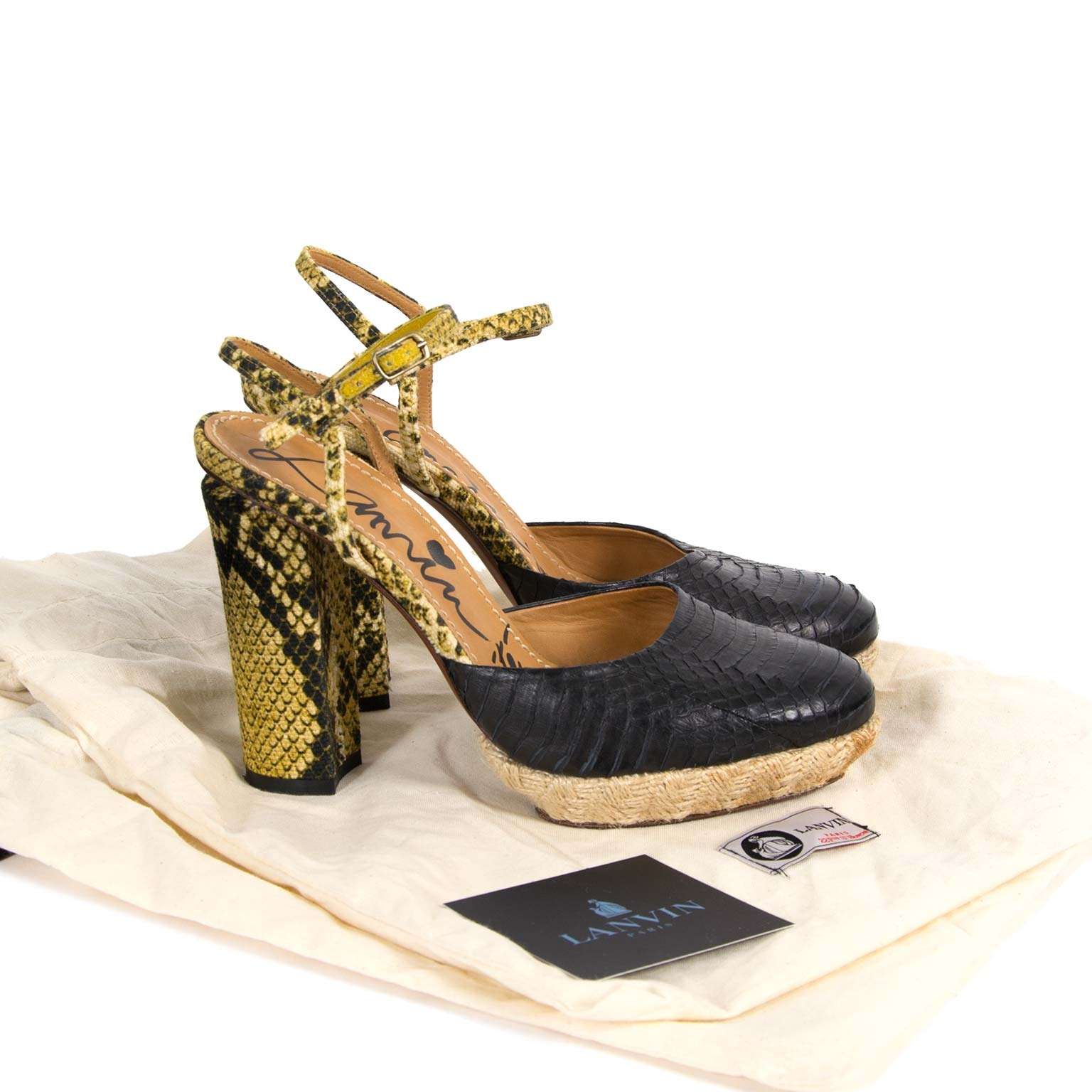Lanvin Leather Python Sandals - Size 37.5 now for sale at labellov vintage fashion webshop belgium
