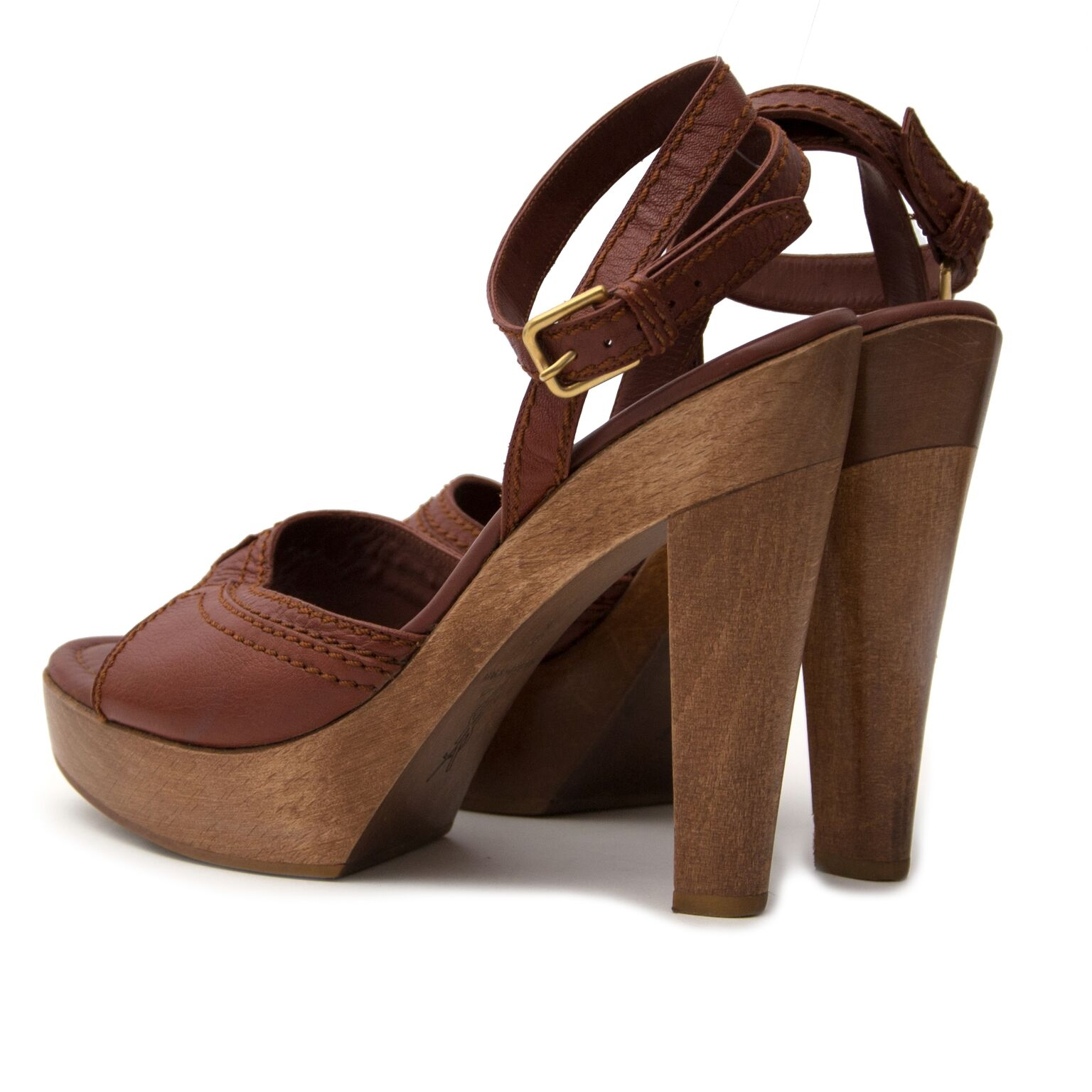 buy Yves Saint Laurent Brown Ankle Strap Wooden Heels Sandal Pump at labellov