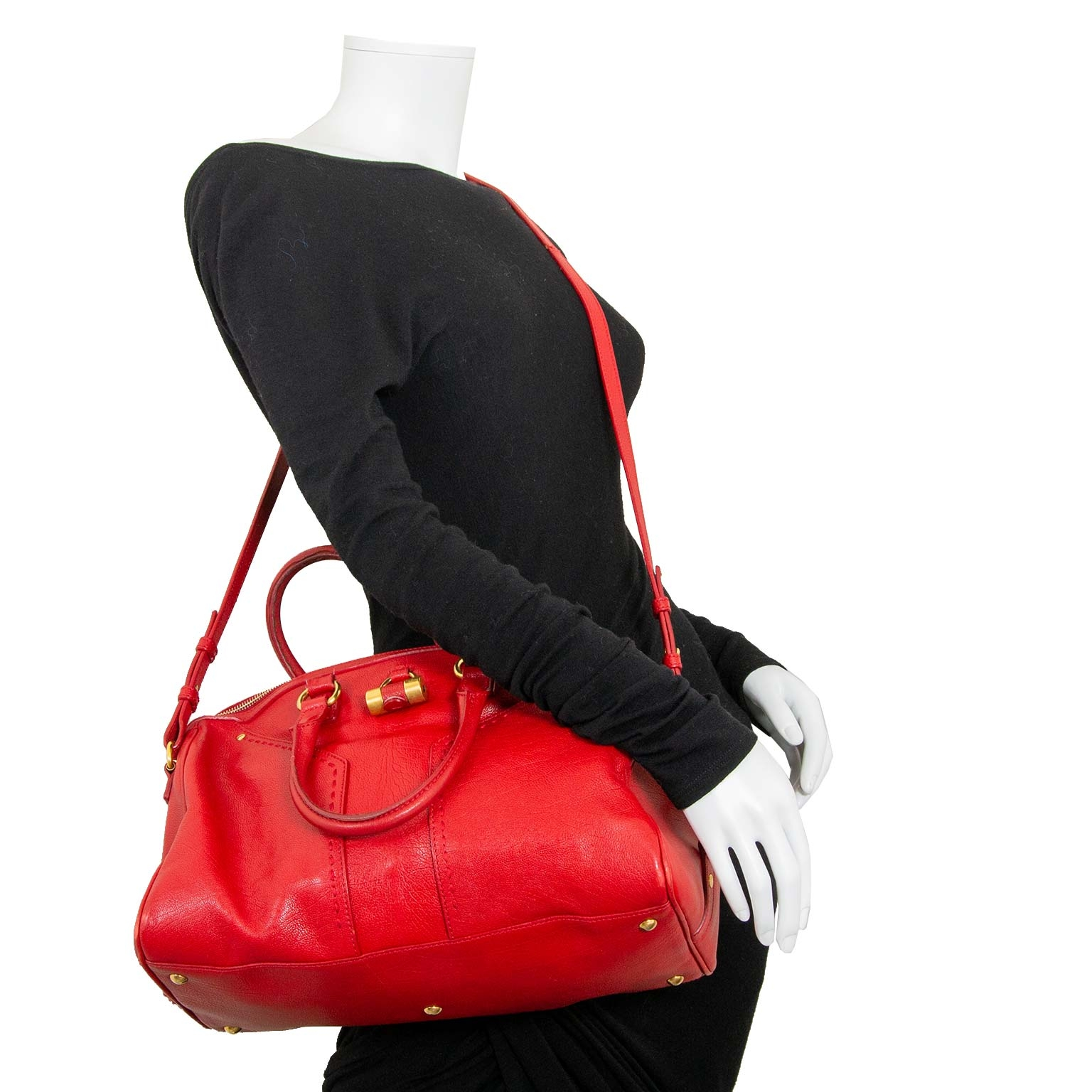 yves saint laurent red muse bowler bag now for sale at labellov vintage fashion webshop belgium