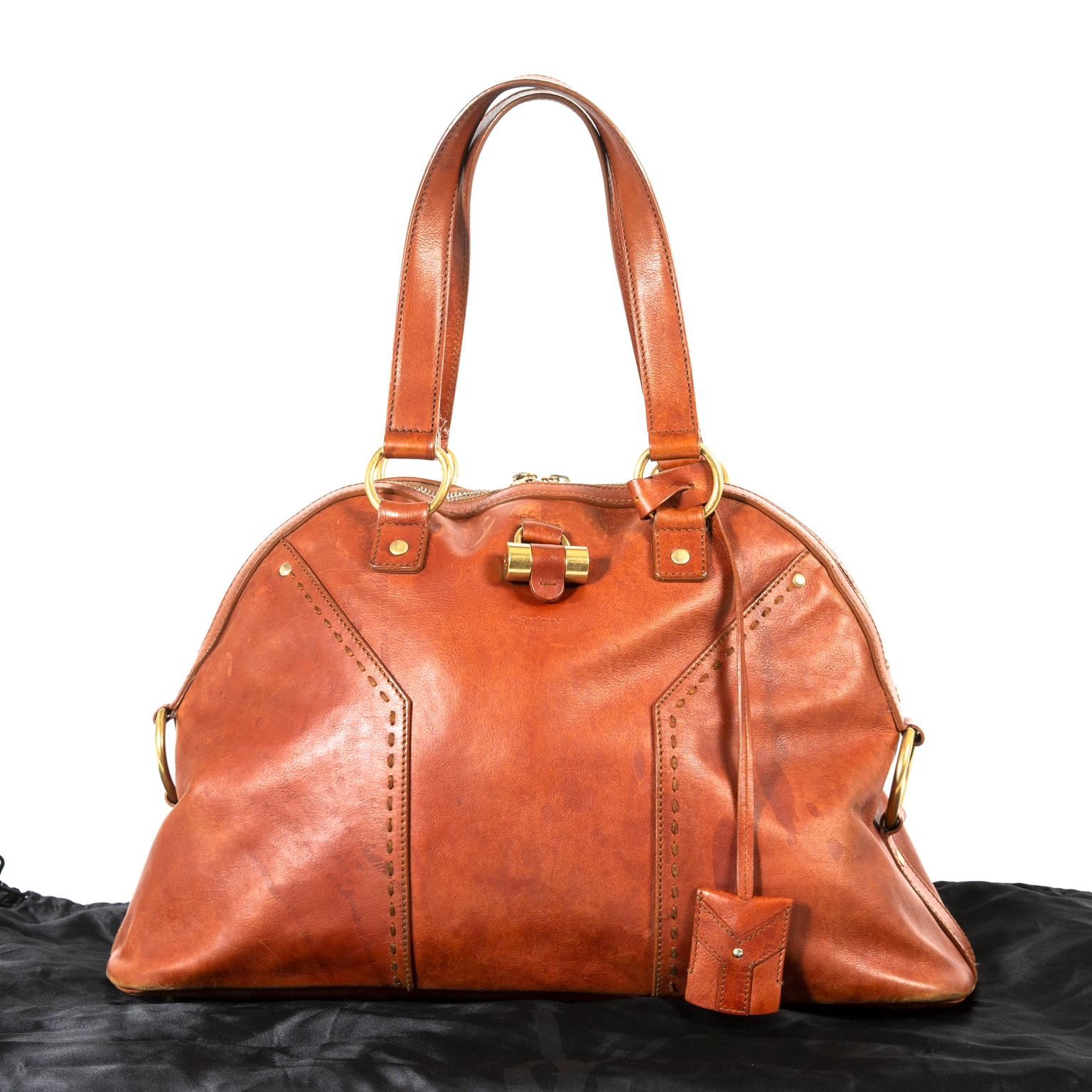 Yves Saint Laurent Muse One Bourbon Leather Bag now for sale at labellov vintage fashion webshop belgium