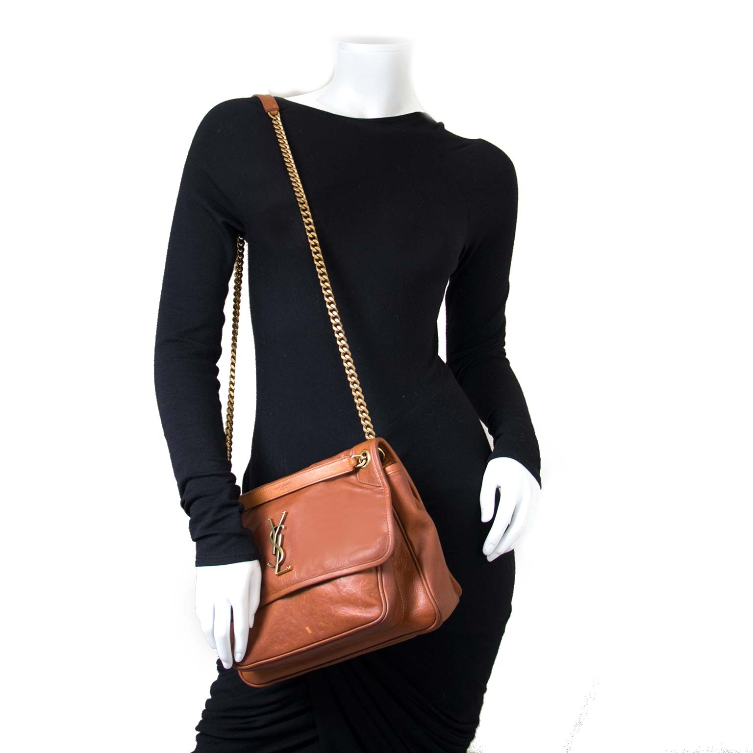902dbd03d3ea ... Koop uw 100% authentieke Yves Saint Laurent Medium Niki Brown Leather  Bag