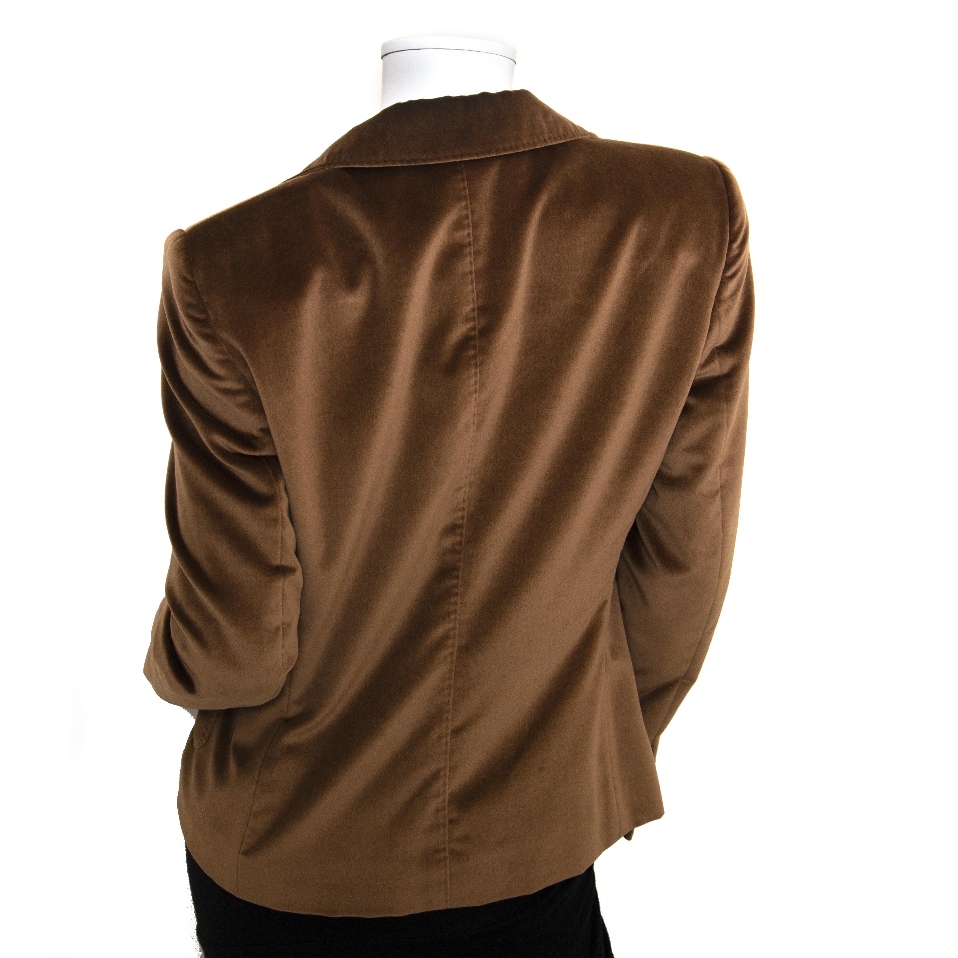 Authentique seconde main vintage Dolce & Gabbana Brown Velvet Blazer  achète en ligne webshop LabelLOV